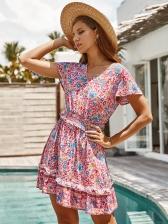 Bohemian V Neck Short Sleeve Floral Dress