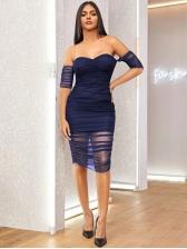 Gauze Patchwork Solid Short Sleeve Bodycon Dress