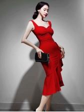 Slim Fit Ruffled Hem Mermaid Bodycon Dress