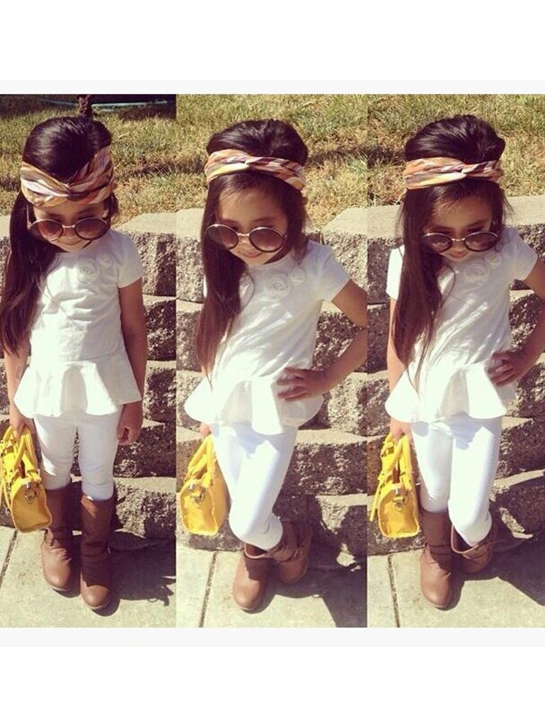 Ruffle Hem Short Sleeve White Girls Outfit Sets