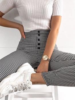 High Waist Button Skinny Plaid Pants