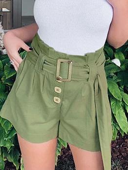 Green Buttons Up Short Pants For Women