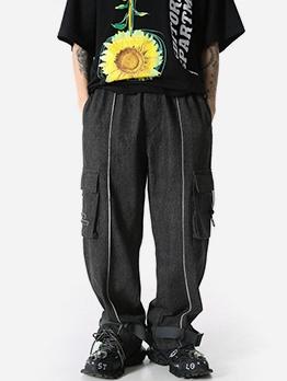 Stylish Multiple Pockets Wide Leg Men Pants