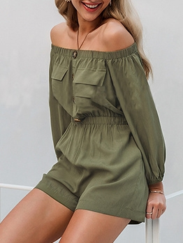 Green Long Sleeve Off The Shoulder Romper