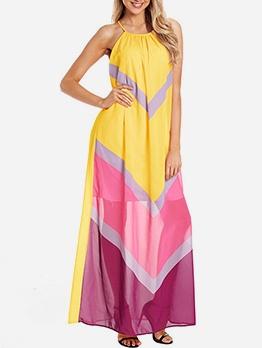 Contrast Color Loose Sleeveless Chiffon Maxi Dress