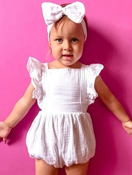 Ruffle Cross Belt Backless Baby Girl Rompers