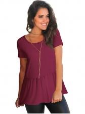 Summer Pleated Hem Solid Plain T Shirt