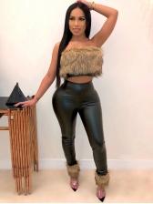 Trendy High Waist Skinny Pu Black Pants