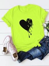 Heart Printing Short Sleeve Plus Size T Shirt