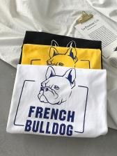 Cartoon Letter Print Short Sleeve Tee Shirts