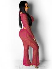 Sexy Mesh Long Sleeve Crop Top And Pant Set