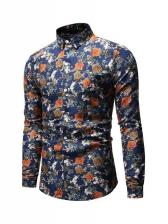 Vintage Floral Men Long Sleeve Shirts