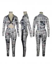 Fashion Printed Long Sleeve Two Piece Pants Set