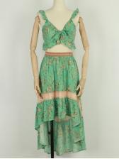 Bohemian Sleeveless Printed Two Piece Skirt Set