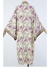 Bohemian Flower Printed Long Sleeve Long Coat