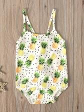 Pineapple Print Sleeveless One Piece Swimsuit For Girls