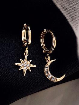 Irregular Moon Star Stud Earrings