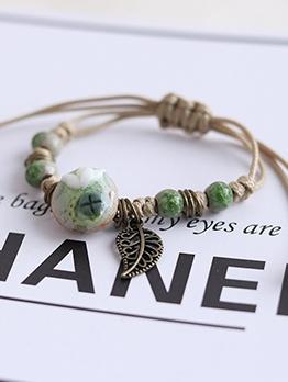 Ceramic Ball Leaf Metal Adjustable Ankle Bracelet