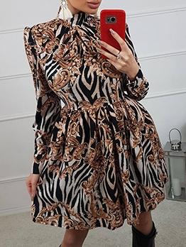 Euro Mock Neck Print Long Sleeve Dress