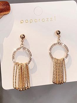 Fashion Simple Design Stud Tassel Earrings