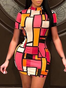 Contrast Color Short Sleeve Bodycon Ladies Dress