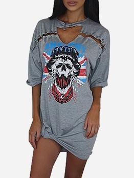 Choker Neck Skull Pattern Casual Dresses