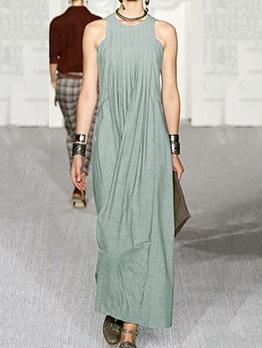 Solid Round Neck Sleeveless Maxi Dress