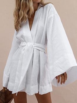 Solid V Neck Casual Long Sleeve Short Dress