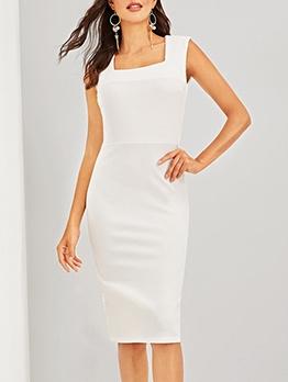 Simple Design Solid Square Neck White Sleeveless Dress