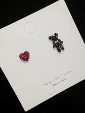 Cute Bear And Heart Studded Designer Earrings