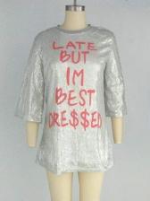 Shiny Sequins Letter Loose T Shirt Design