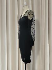 Gauze Patchwork Polka Dot Black Long Sleeve Dress