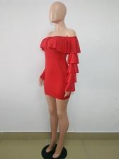 Off Shoulder Ruffle Long Sleeve Short Dress