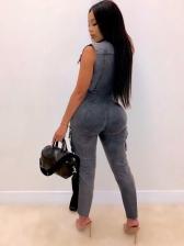 Large Pockets Zipper Up Binding Denim Jumpsuit
