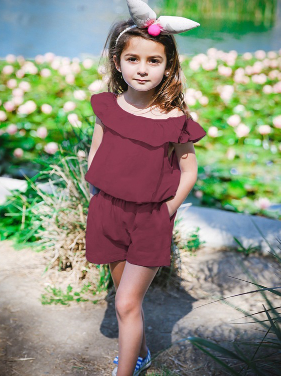 Casual Ruffle Solid Summer Romper For Girls