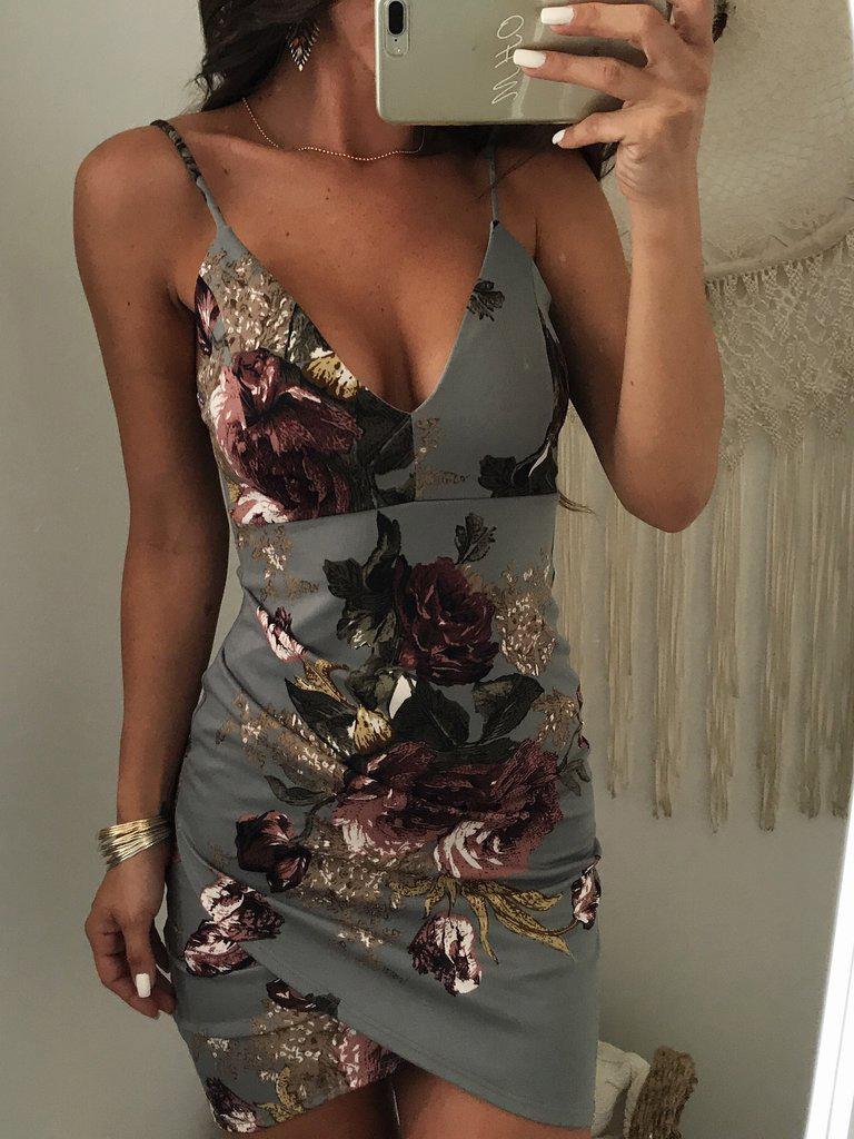 Deep V Neck Floral Sleeveless Bodycon Dress