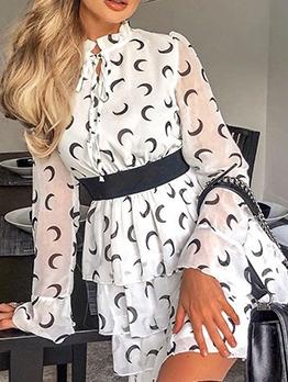 Euro Layered Crescent Pattern Long Sleeve Dress