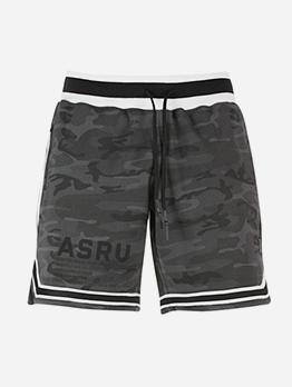 Letter Printed Striped Short Pants For Men