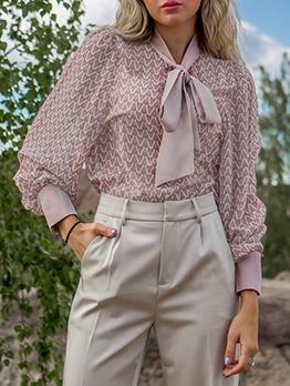Fashion Long Sleeve Printed Bow Blouse