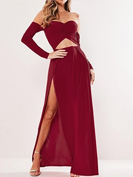 Boat Neck High Split Hem Solid Long Sleeve Maxi Dress