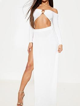 Hollow Out Split Hem Solid Off Shoulder Maxi Dress