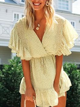 Chiffon Frill Trim v Neck Dots Summer Dresses