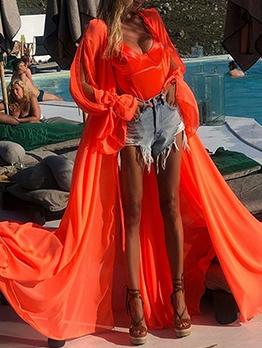 Solid Long Sleeve Chiffon Long Coat