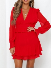 Chic Pure Color Ruffled Long Sleeve Dress