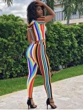 Rainbow Stripe Hooded Crop Top And Pants Set