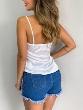 V Neck Lace Panel Beading White Cami Top