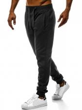 Sporty Solid Drawstring Men Jogger Pants
