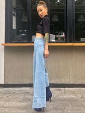 Fashion Irregular High Waist Jeans