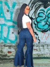 Flounced Hem High Waisted Flare Jeans