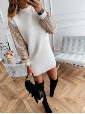 Sequin Lantern Sleeve Beige Dress For Autumn